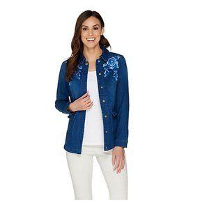 Isaac Mizrahi Live! TRUE DENIM Embroidered Jacket